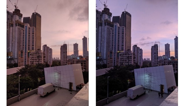 The OnePlus 7 shoots more detailed and colour accurate landscapes. The Pixel went completely off with the colours and looked nothing like the real scene. L to R: OnePlus 7, Pixel 3a XL Image: Tech2