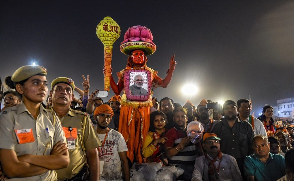 During the rally at Ramlila Maidan, Modi hit out at the AAP-led government in Delhi calling it 'nakaampanthi' or a government that has created hindrances in the path of developmental works in the national capital. He also hit out at the prevalent dynasty politics in the country and said that the Congress had used the INS Viraat as a 'personal taxi' when late Rajiv Gandhi was prime minister in 1987. Image courtesy: PTI