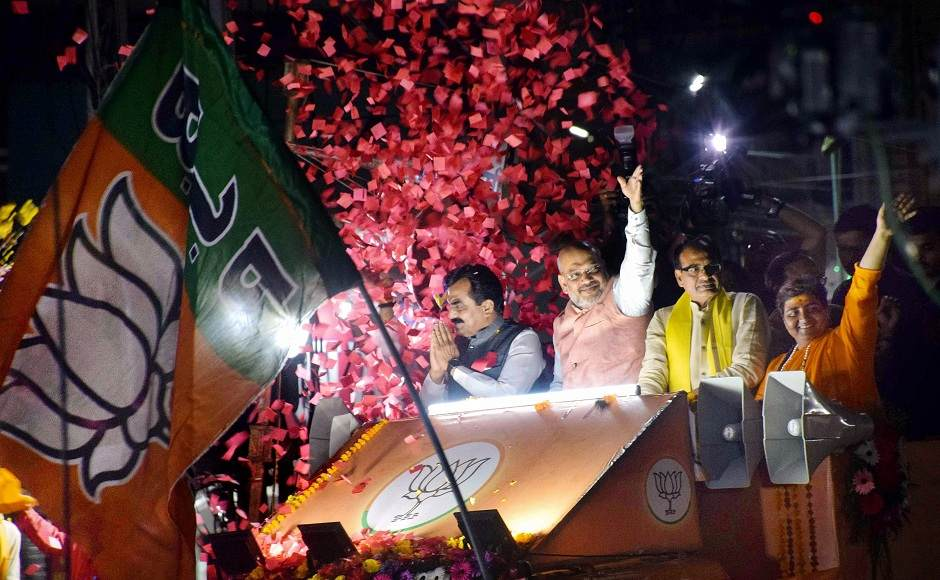Shah also held a road show in Bhopal in support of BJP candidate Sadhvi Pragya Thakur. Image courtesy: PTI\