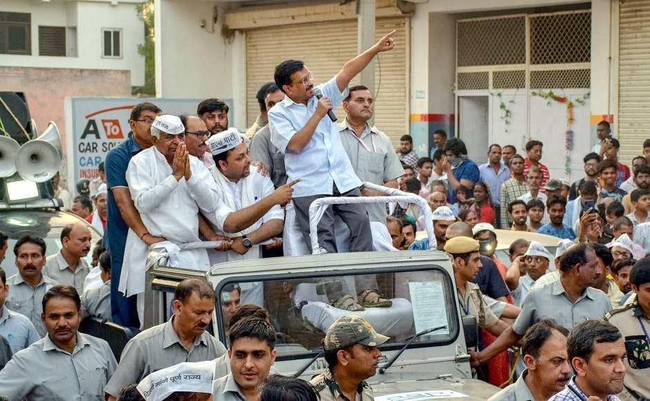 AAP chief and Delhi Chief Minister Arvind Kejriwal held roadshows in various parts of the national capital. He asked why Priyaka Gandhi was campaigning against the AAP in Delhi and SP-BSP in Uttar Pradesh and avoiding places where there is a direct fight with the BJP. Image courtesy: PTI