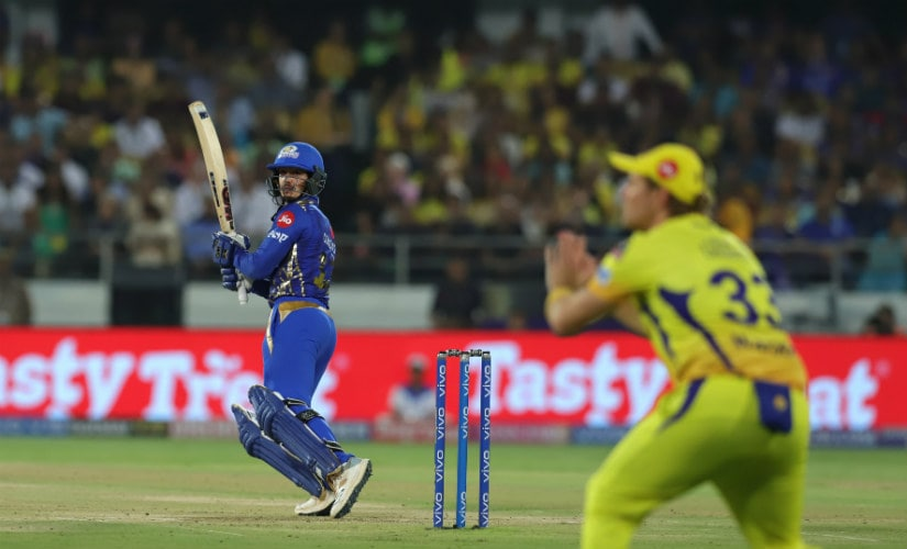 Quinton de Kock scored a quickfire 29 off 17 balls, including four sixes, to guide Mumbai Indians to an ideal start in the powerplay. Sportzpics