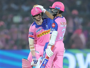 Steve Smith captain of Rajasthan Royals and Ajinkya Rahane of Rajasthan Royals during match 40 of the Vivo Indian Premier League Season 12, 2019 between the Rajasthan Royals and the Delhi Capitals held at the Sawai Mansingh Stadium in Jaipur on the 22nd April 2019 Photo by: Deepak Malik /SPORTZPICS for BCCI