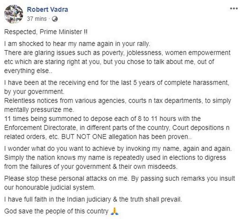 Robert Vadra tells PM to focus on poverty and unemployment, stop invoking his name to distract from NDAs failures