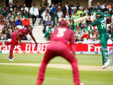 Andre Russell bounces out Haris Sohail. Reuters