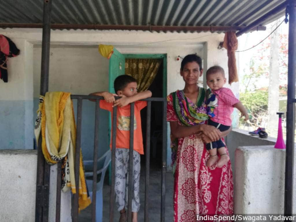 """""""My mother-in-law used to give me only dal water and told me not to eat non-vegetarian food when pregnant,"""" says Mumtaz Shaikh, 30. On counsellors' advice, she started eating everything. Her second son Atif is now eight-month-old, a calm baby with a good appetite, whereas her elder son, Adnan, 5, who did not benefit from her improved diet, is underweight and a finicky eater. Image: Author Provided"""