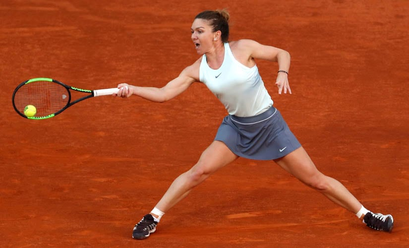 Romania's Simona Halep in action during the Madrid Open final against Netherlands' Kiki Bertens. Reuters