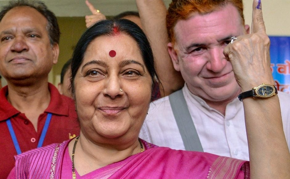 Senior BJP leader Sushma Swaraj cast her vote for the sixth phase of Lok Sabha elections at a polling station at Aurangzeb Lane in New Delhi. PTI