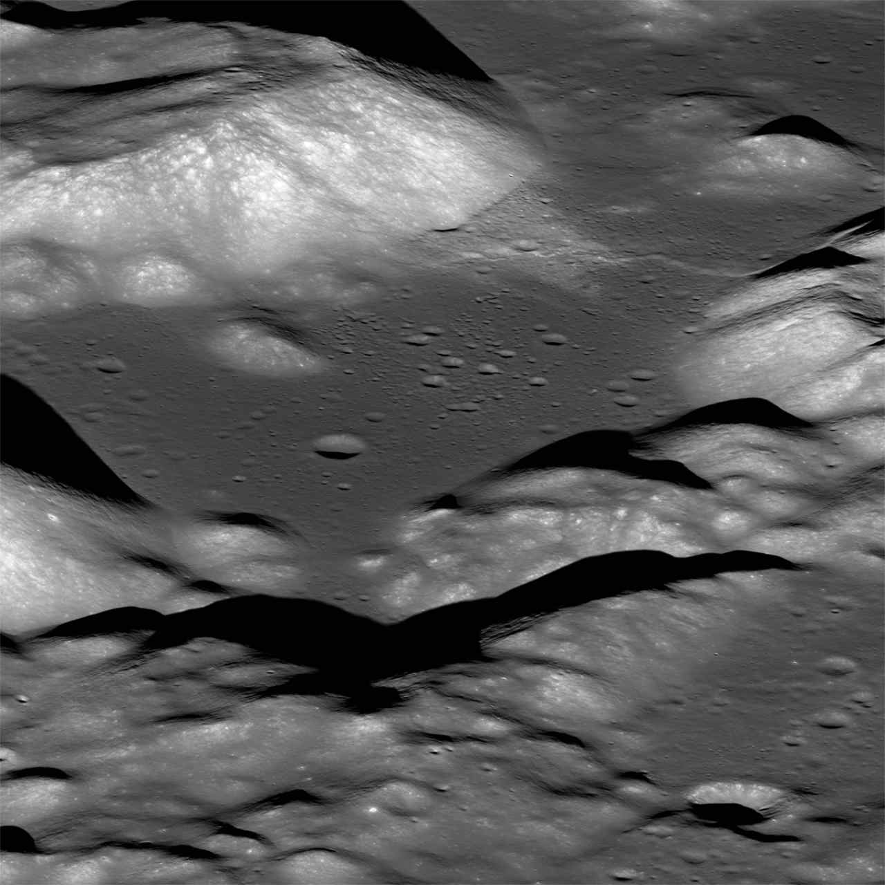 A view of the Taurus-Littrow valley taken by NASA's Lunar Reconnaissance Orbiter spacecraft. The valley was explored in 1972 by the Apollo 17 astronauts Eugene Cernan and Harrison Schmitt. Image: NASA/LROC