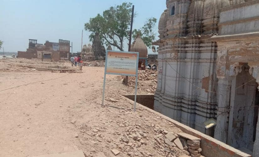 A broad path has been cut out after structures near Lalita ghat have been demolished. Saurabh Sharma and Amit Singh