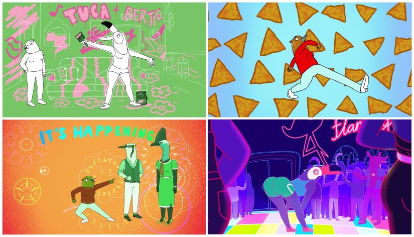 Tuca & Bertie experiments more with animation styles than BoJack Horseman. Netflix