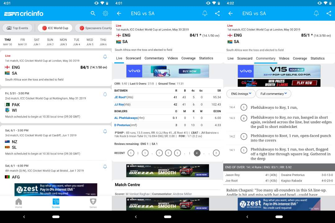 ESPNCricinfo app on Android.