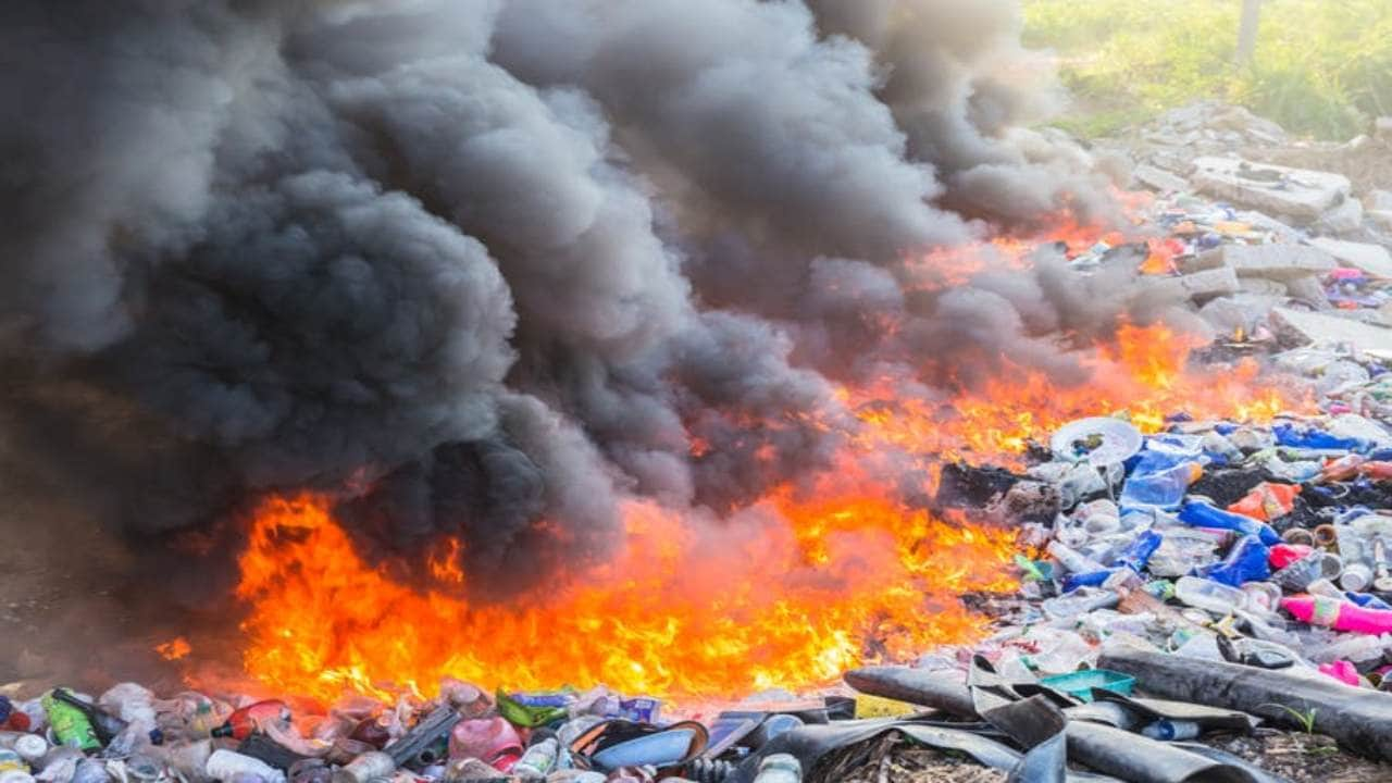 Ignition of trapped methane pockets in landfills can set off massive fires, releasing the carbon stored in plastic. Image credit: Shutterstock