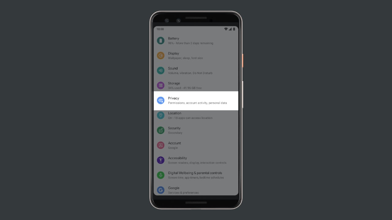 Privacy menu under Settings in Android Q.