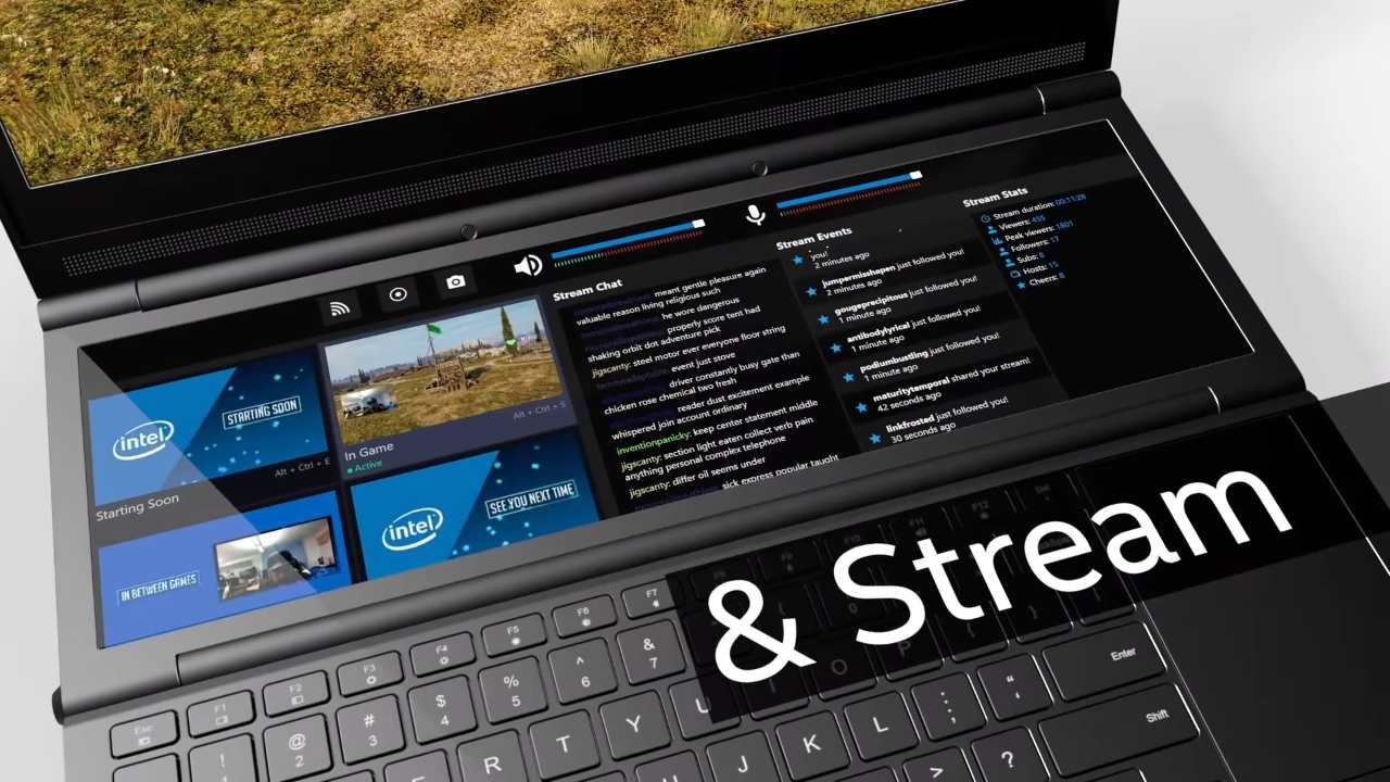 Game streaming use-case on the Intel Honeycomb Glacier gaming prototype laptop.