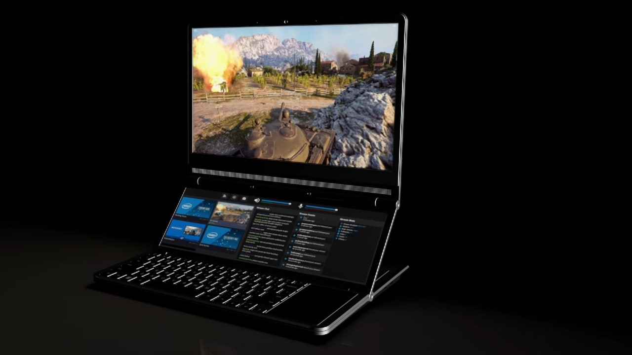 Intel's Honeycomb Glacier is a gaming laptop concept with adjustable dual screens