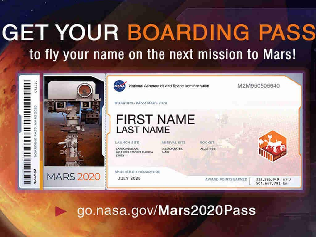 NASA is now inviting people to submit names to fly to Mars in July 2020