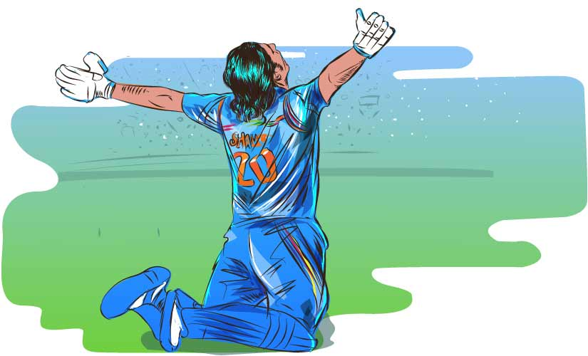 Afghanistan's Shapoor Zadran celebrates after hitting the winning runs in their historic win against Scotland in 2015 World Cup. Artwork by Rajan Gaikwad
