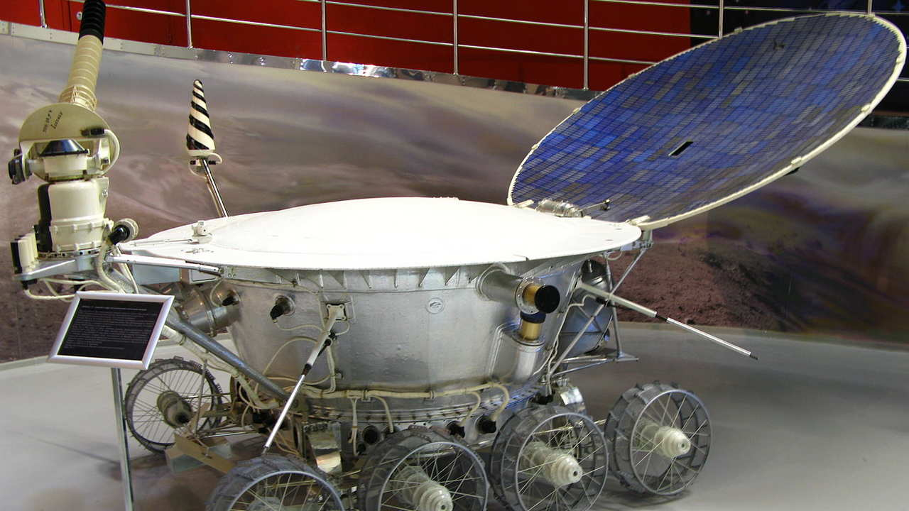 Lunokhod 1 was the first remote-controlled rover to land on an object in space, the moon in this case. It was built by the Soviet Union and landed on November 1970. Image credit: NASA/Dave Scott