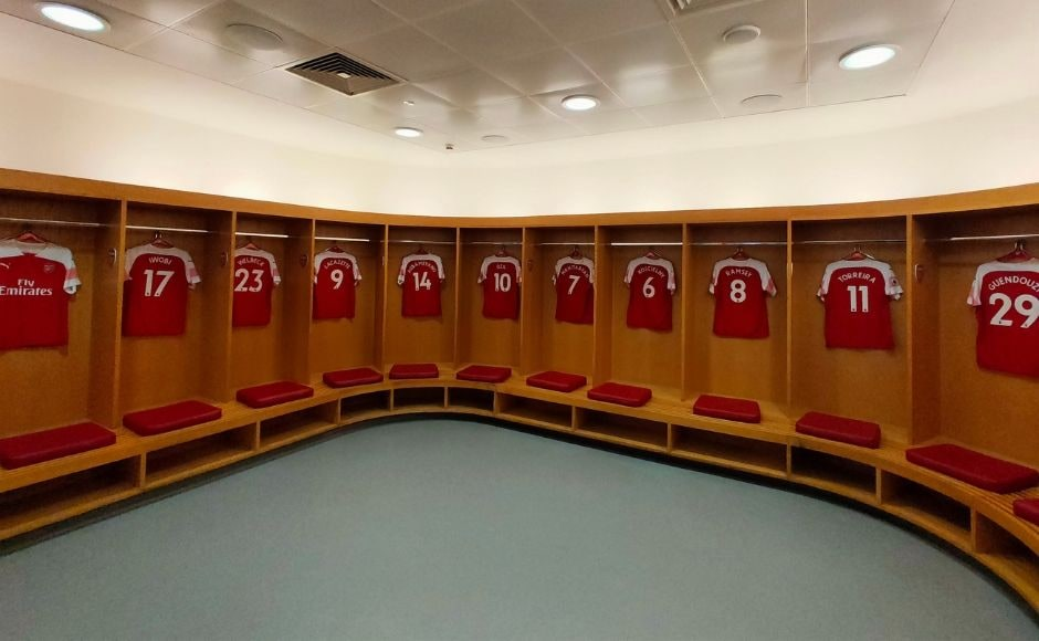 The dressing room of the football team Arsenal at their home turf, The Emirates Stadium. Image clicked via OPPO Reno 10X Hybrid zoom