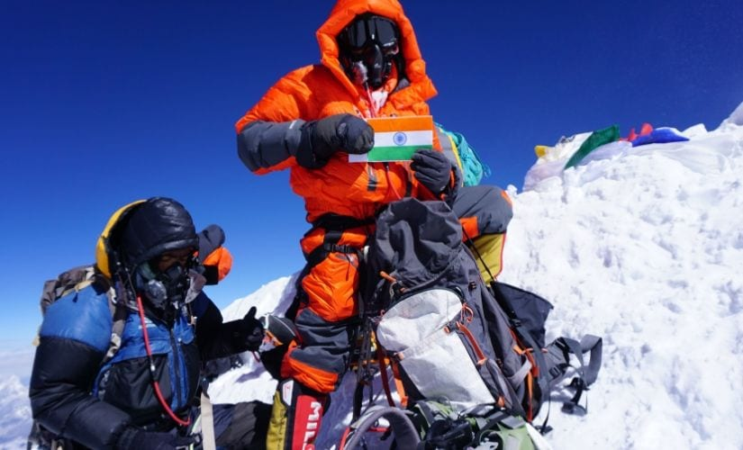 Keval Kakka atop Mt Everest.
