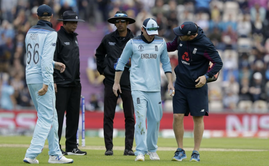 England captain Eoin Morgan had to walk off the field due to back spasm. AP