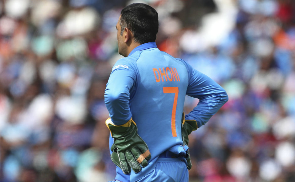 MS Dhoni dons wicket-keeping gloves that are devoid of the 'Balidaan' Badge, an Indian Army insignia that had been at the centre of a heated debate involving both the ICC as well as fans back in India. AP