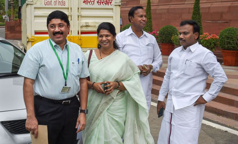 DMK's newly-elected MPs Dayanidhi Maran, A Raja and Kanimozhi arrive for the first session of the 17th Lok Sabha at Parliament House in New Delhi. PTI