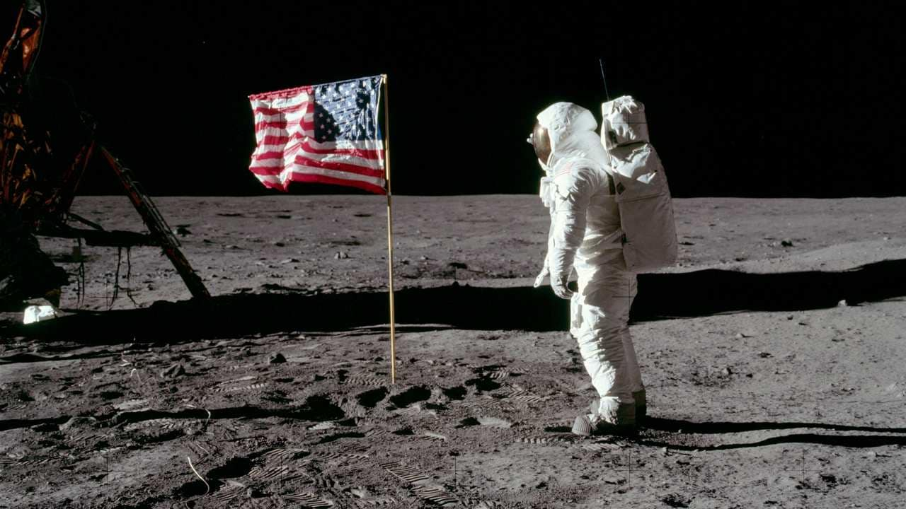 The lunar module pilot of Apollo 11 – Buzz Aldrin salutes the U.S. flag. Source: ALSJ/NASA