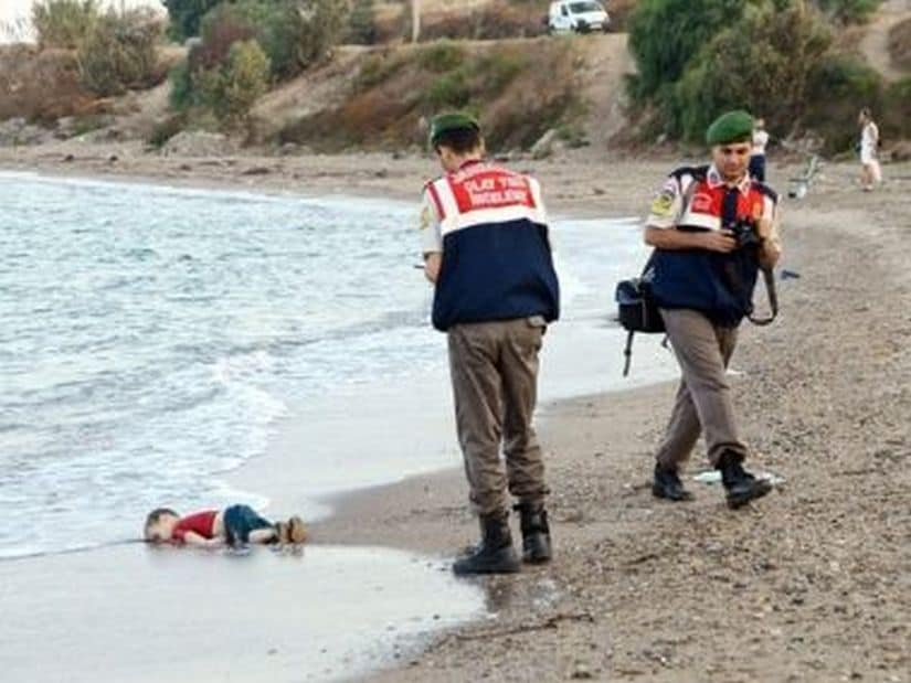 The washed up body of Alan along the shore. Reuters