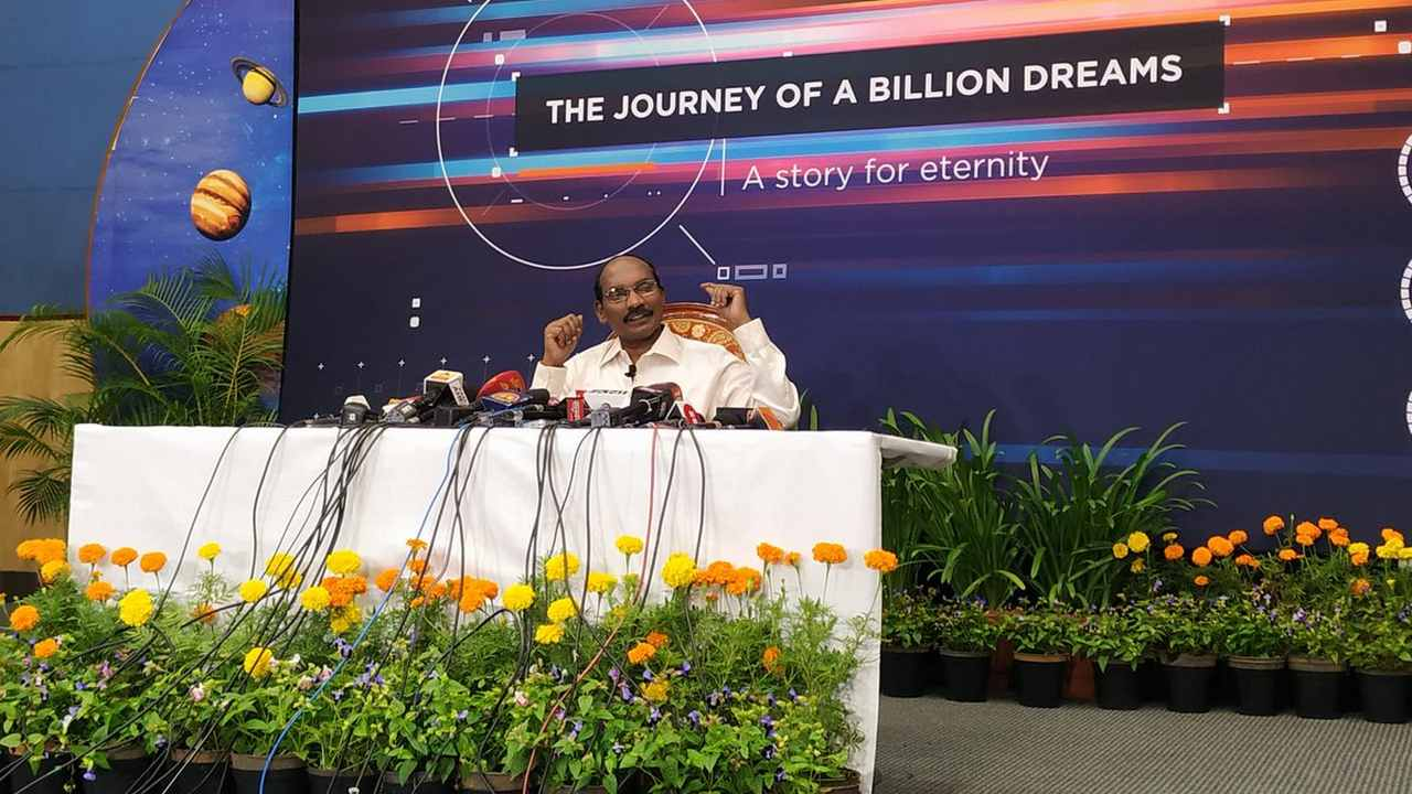 Chairman of ISRO, Dr K Sivan speaking at a press briefing. Image credit: Tech2