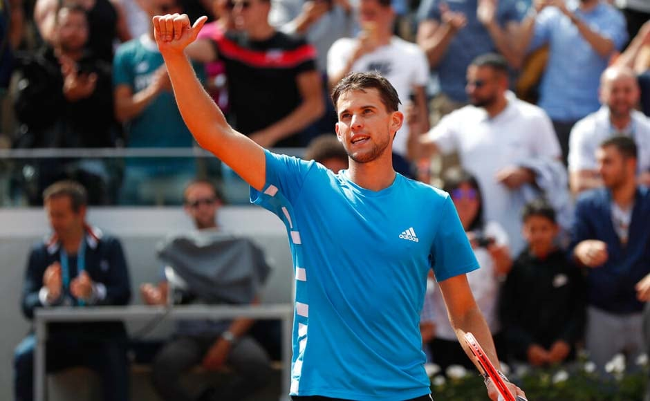 Dominic Thiem reached the French Open semi-finals for the fourth straight year after beating Karen Khachanov 6-2, 6-4, 6-2. AP