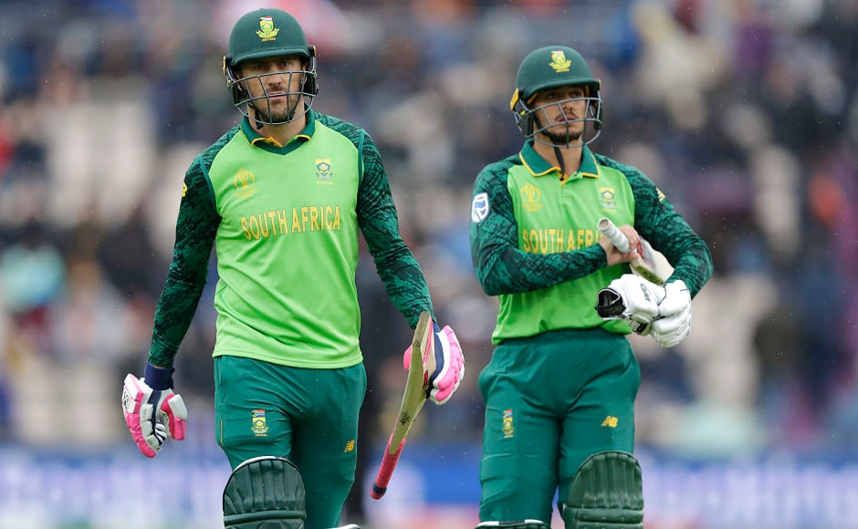 South Africa skipper Faf du Pless (Left) and Quinton de Kock (Right) walk back to the pavilion after rain stopped lay. The Proteas registered a total of 29-2 from 7.3 overs when the covers came on due to heavy showers. AP