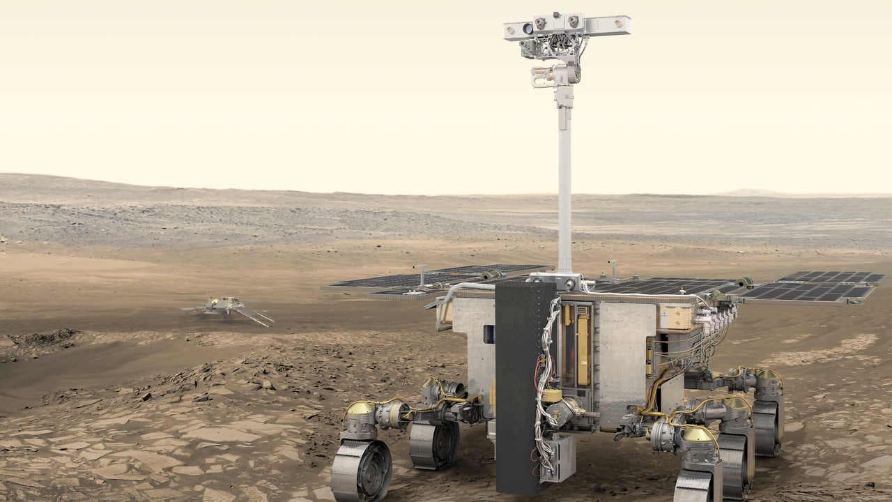 The ExoMars or Rosalind Franklin rover will go to Mars and it is a collaboration between the European Space Agency and the Roscosmos Russian State Space Corporation which will be launched in July 2020. Image credit: ESA