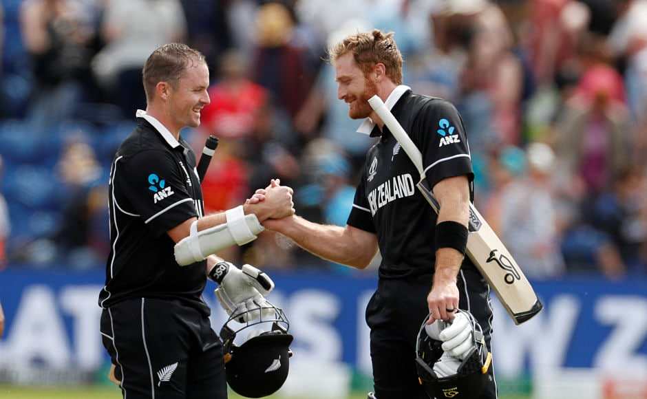 New Zealand's Colin Munro and Martin Guptill are all smiles after their 10-wicket thrashing of Sri Lanka in their ICC Cricket World Cup encounter in Cardiff on Saturday. The duo chased down the target of 137 runs in just 16.1 overs giving the Kiwis a positive start. Reuters