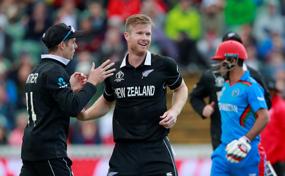 In the day's second match, New Zealand's James Neesham celebrates after dismissing Afghanistan's Najibullah Zadran. Neesham finished swith impressive figures of 5-31 as the Kiwis clinched a seven-wicket win. Reuters