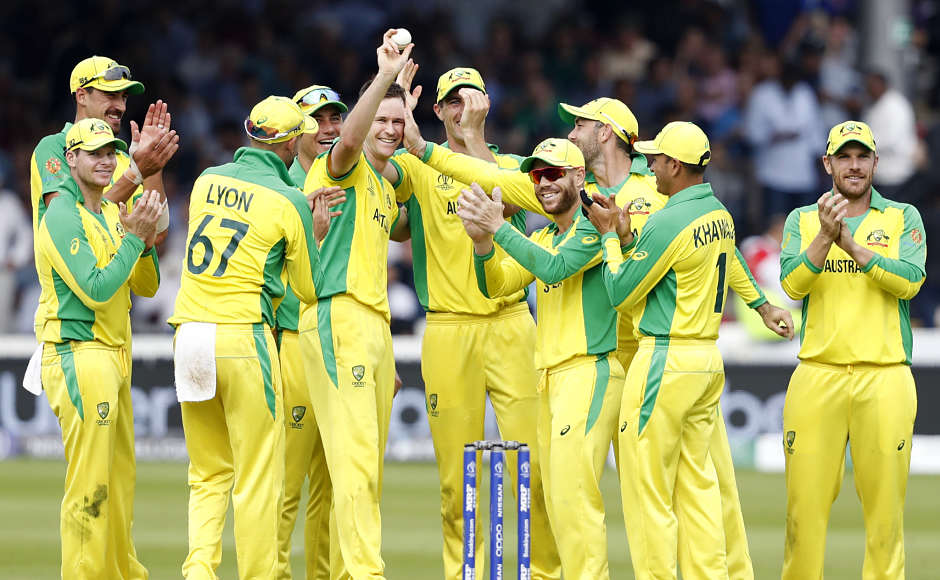 Australia's Jason Behrendorff registered figures of 5/44 from 10 overs as defending champions Australia defeated England by 64 runs in their World Cup clash at Lord's on Tuesday. With this win, the Aussies secured a semi-final spot, whereas it raised a lot of questions for England. AP