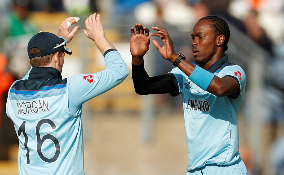 Jofra Archer celebrates the dismissal of Mustafizur Rahman. Mustafizur was the last to be dismissed as England clinched their second win in the World Cup after beating Bangladesh by 106 runs. Reuters