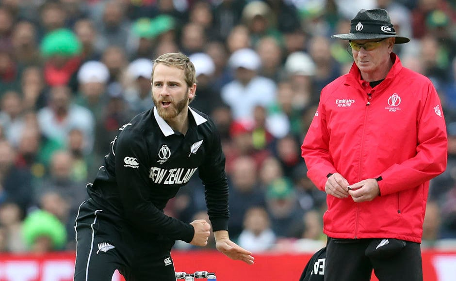 New Zealand skipper Kane Williamson in action during Pakistan's run-chase. Having bowled eight overs, he registered figures of 1-39, picking up the wicket of Mohammad Hafeez. AP