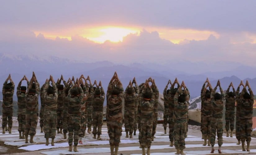 Soldiers practise meditation and yoga on operational areas on Line of Control. Twitter @adgpi