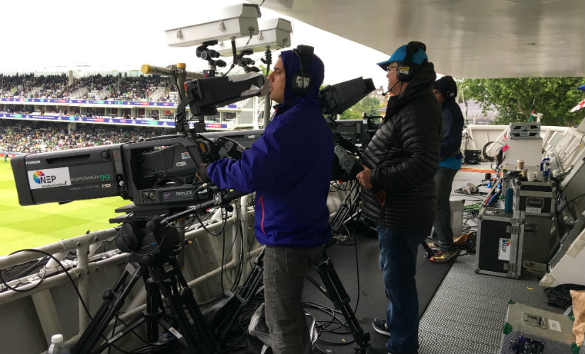 Cameras set up at the Lord's media centre.