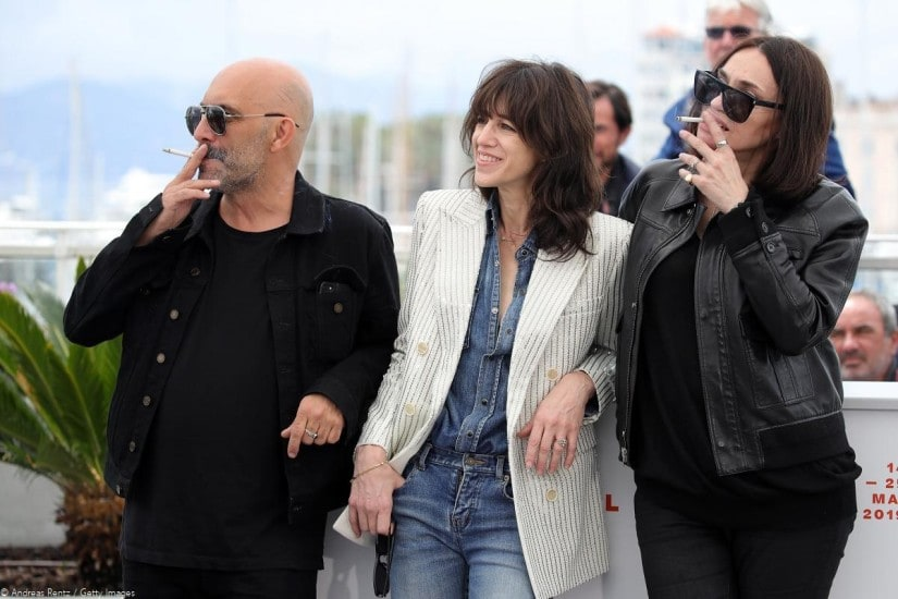 Gaspar Noé, Charlotte Gainsbourg and Béatrice Dalle pose during the photocall for Lux Æterna at 2019 Festival de Cannes.