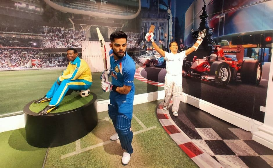(L-R) Wax statues of Pele, Virat Kohli and Sachin Tendulkar at Madame Tussauds in London. Image clicked via OPPO Reno 10X Hybrid zoom