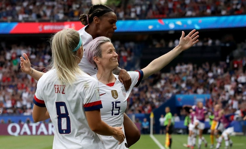 Megan Rapinoe scored both goals for USA as they set up a semi-final clash against England. AP