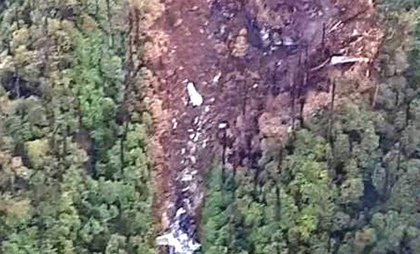 Picture of the wreckage of the IAF AN-32 on the slopes of Pari Adi (Padi hills) in Arunachal Pradesh's Siang district. Photo credit Rishu Kalantri