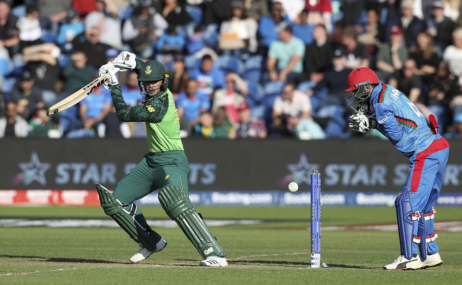 South Africa's Quinton de Kock scored 68 runs before being dismissed by Afghanistan captain Gulbadin Naib in the 23rd over. AP