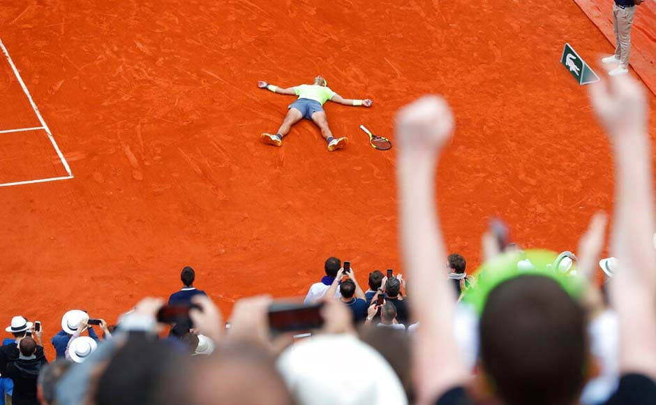No one in tennis ever has won any major tournament that many times. Nadal is 93-2 for his career at Roland Garros, winning four in a row from 2005-08, five in a row from 2010-14, and now three in a row. AP