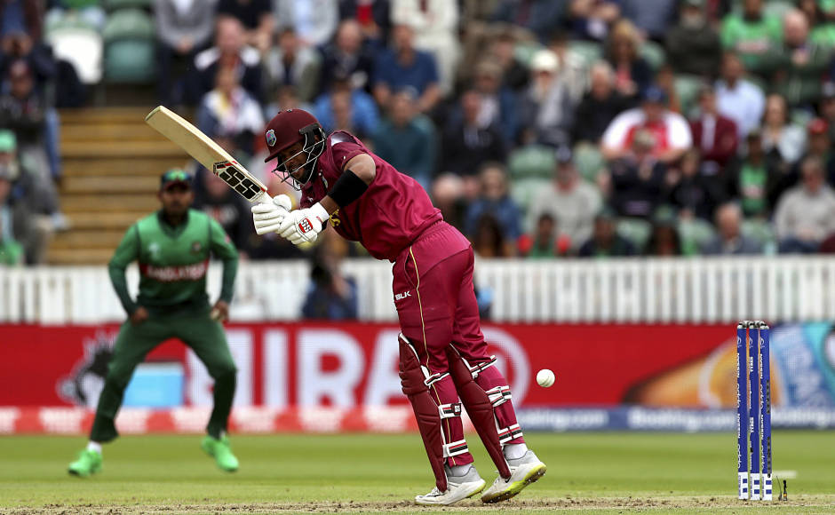 West Indies' Shai Hope continued his impressive form, but missed out on a century after he was dismissed for 96 by Mustafizur Rahman. He put up a 116-run stand with Evin Lewis for the second wicket. AP