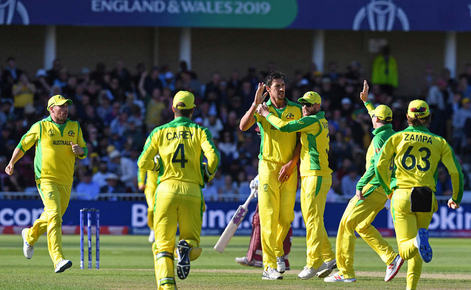 Australia started off in an emphatic fashion with Pat Cummins removing Evin Lewis in just the second over. He bowled with a lot of discipline and pace. But the pick of the bowlers was Mitchell Starc, who ended up with a five-wickethaul in the match, including the wicket of Chris Gayle. AFP
