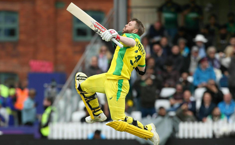 David Warner rejoices his first ODI century since his one-year ban with his trademark celebration. Warner was named the Player of the Match for his outstanding effort. AP