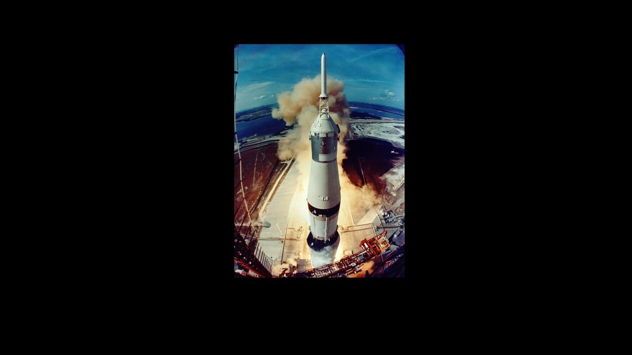 The Saturn V rocket launches from the Kennedy Space Center on Merritt Island, Florida on 16 July, 1969. Source: ALSJ/NASA